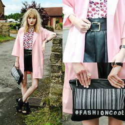 Amy Liddell - Girls On Film Coat, Asos Kiss Shirt, Zara Clutch Bag, Asos Shorts - Kiss