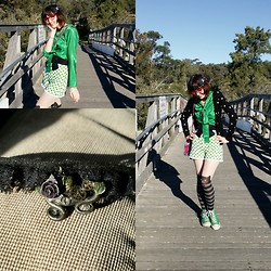Jennifer Hankin - Glassons Polka Dot Cardigan, Lady Petrova Green Blouse, Made By Me Shorts, Converse, Ebay Kitty Tights - Green apple