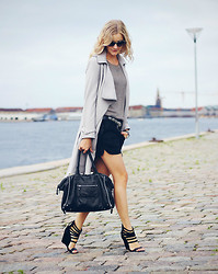 Christina Dueholm -  - Trench coat & leather shorts