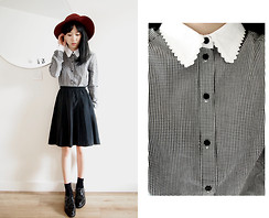 Jeanette T - Urban Outfitters Gingham Shirt With Scallop Collar, Vintage Market Pleated Skirt - Collar
