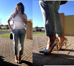 Tneale Williams - Country Road White Sheer Detail T, Mr P Boyfriend Jeans, Mr P Gold Courts - All I wanna do is Take you Downtown.