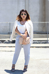 Lina Lemus - Paper Crown Tweed Jacket, Daisygem Pink Necklace, Solesociety Nude Clutch, Forever 21 Gray Pants, Solesociety Strappy Heels - Gray Straps