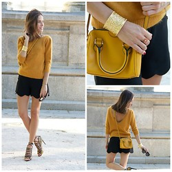 Marta Carriedo - Zara Jersey, Zara Sandals - MUSTARD+BLACK