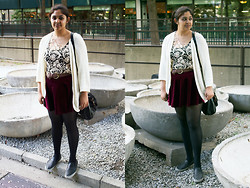 Maha Hawk - H&M Cardigan, Stitches Crochet Top, Garage Braided Belt, Ebay Red Velvet Skirt, Call It Spring Faux Leather Canvas Slip On's, Ebay Side Bag - Canada's Day Outfit