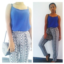 Jelani - New Yorker Cami, Forever 21 Harem Pants, H&M Bag, Revlon Nails, Lucky Shoes Ballet Flats - Day or Night Look