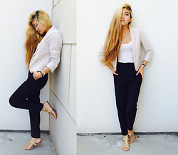Debora - H&M Nude Blazer, Bcbg Toe Sandals, Forever 21 Classic Woven Trousers, Main Apparel Basic Tank - Long day at work