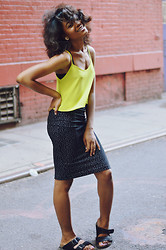 Alicia Nicholls - Topshop Cropped Cami Top, American Apparel White Scatter Mid Length Pencil Skirt, Birkenstock Pony Hair Arizona Sandals - Chartreuse Yellow