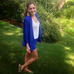 Michelle Orsi - Forever 21 Earrings, American Eagle Top, Forever 21 Blazer, Forever 21 Shorts, Tory Burch Shoes - Feeling blue