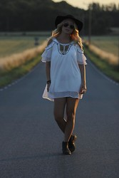 Stina Mattsson - Bikbok Hat, Sheinside Dress, Ray Ban Sunglasses, Din Sko Boots - SUMMERTIME SADNESS