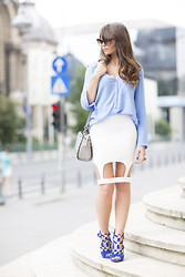 Silvia Matei - Zara Silk Shirt, No Name Skirt, Giuseppe Zanotti Sandals - Caged innocence