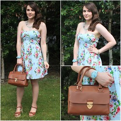 Gabby P. - New Look Mint Floral Dress, Primark Brown Bag, Breo Pastel Blue Watch - Minty Florals!