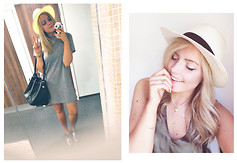 Anastasia - - Urban Outfitters T Shirt Dress, Urban Outfitters Straw Hat, Topshop Golden Pendants, Topshop Silver Cut Out Brogues - Instagram @anastasiagol