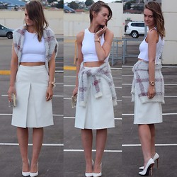 Jess Rodgers - Supre Crop, Asos Leather Look Skirt, Bardot Plaid Sweater, Peeptoe Pumps, Bardot Perspex Clutch - Plaid