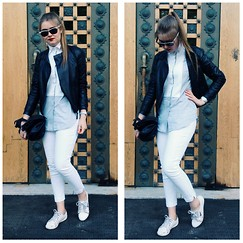 Kseniya Andreeva - Sisley Bikerjacket, Lacoste Pants, Guess? Sneakers, Ray Ban Sunglasses, Carolina Herrera Bag - City
