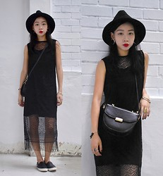 Faith Png - Oasap Tassel Dress, Oasap Felt Hat, Thrifted Cross Body Bag, Topshop Slip On Sneakers - The Tassel Dress