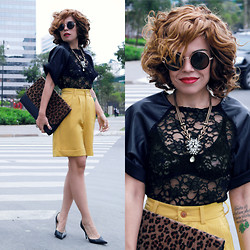 Priscila Diniz - Curly Wig > Made To Measure, Black Lace Top, Round Sunglasses > Similar, Necklace, Animal Print Clutch, Mustard Shorts - Art is the daughter of freedom