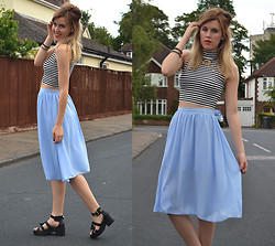 Anna - Primark Skirt, Miss Selfridge Crop Top, River Island Sandals -  baby blue humbug