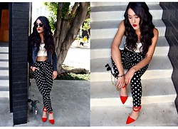 Sahar N - Shoe Cult Poppy Red Pumps, Forever 21 B&W Polka Dot Harem Pants, Urban Outfitters White Crop Top, Sheinside Black Leather Jacket, Urban Outfitters Black Sunnies - Spot On