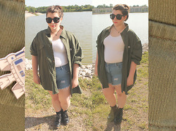 Katie - Thrifted Men's Shirt, Forever 21 Crop Top, Diy High Waist Shorts, Combat Boots - In Between