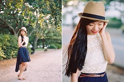 Serena J - Forever 21 Navy High Low Skirt, Madewell Leather Sandals, Urban Outfitters Fedora, Forever 21 Lace Top, Staring At Stars White Bandeau Bra, Forever 21 Brown Leather Belt - Fedora & Lace