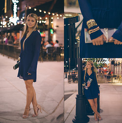 Briana Boyko - No Rest For Bridget Jewelery, Vintage Faux Magazine Clutch, No Rest For Bridget Navy Dress, Love Culture Nude Strappy Heels - Seven | Eleven | Fourteen
