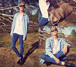 David Zakis - H&M Black Sunglasses, H&M Blue Denim Shirt, H&M White Shirt, H&M Blue Jeans, H&M Black Shoes, Zara Leather Bag - In love