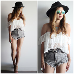 Marilyn N. - Laced Off Shoulder Top, Gojane High Waist Shorts, Guess? Fedora - Boho Vibe.