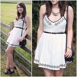 Gabby P. - Missguided White Embroidered Skater Dress - A Yorkshire Picnic