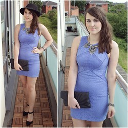 Gabby P. - Topshop Blue Lace Bodycon Dress, New Look Black Heels, New Look Silver Statement Necklace, Topshop Black Fedora Hat - Statement Necklace and Simple Lace