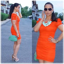 Dianie Collado - Forever 21 Orange Lace Dress, Forever 21 Layered Faux Stone Fringe Necklace, Mandee Mint Chained Bag, Guess? Animal Print Strappy Sandals, Bebe Aviator Sunglasses - Orange Mint * Stylo 142♥