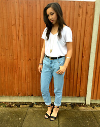 CaramelBubbleTea - Topshop V   Neck Plain White Tee, Topshop 3d Triangle Gold Pendant, Frontrowshop Boyfriend Jeans, New Look Black Heeled Sandals - Casual Chic