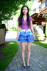 Julie Tao - Claire's Flower Leaves Vine Headband, Aeropostale Striped Tee, Got It From Shanghai Shoelace Lace And Ruffle Skirt, American Eagle Peeptoe Flats With One Inch Heel - Shade Me