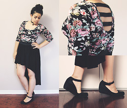 Nicole - Thrifted Shirt, Thrifted Wedges - Two Lefts