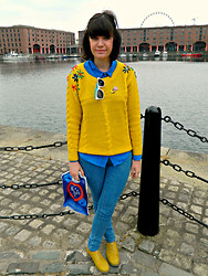 Charley Ellis - Oasap Yellow Cable Knit Jumper, Topshop Jamie Blue Jeans, Primark Yellow Brogues - We All Live In A...