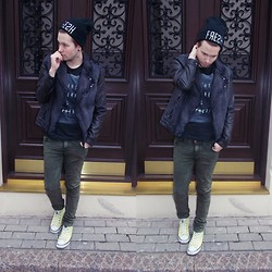 Balt Oldwood - New Yorker Denim/Leather Jacket, H&M Tee, Acid Reign Wash Jeans, New Yorker Beanie, New Yorker Sneakers - Writer's Block