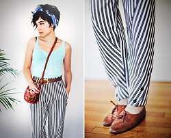 Sophia Mayrhofer - Thrifted Floral Silk Headscarf, Thrifted Basic Mint Tank, Thrifted Gold Buckle Belt, Fleamarket In Germany Handmade Leather Satchel, Frontrowshop Peg Trousers In Monochrome Stripes, Dearwapiti Vintage Woven Leather Brogues - Hymn to the sea