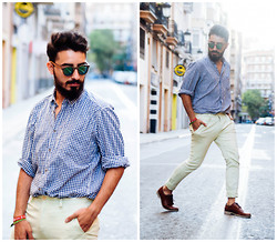 Charlie Cole - Wood Friends Sunglasses, H&M Plaid Shirt, Asos Yellow Pants Chinos, Zara Brown Oxfords - HABITAT