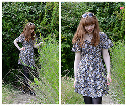 Emily May - Tiger White Heart Shaped Sunglasses, Beyond Retro Floral Dress - Grunge Garden