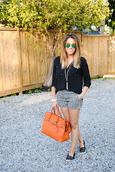 Christina C - Joe Fresh Shorts, Franco Sarto Espadrilles, Michael Kors Watch, H&M Blouse, Ray Ban Sunglasses, Mimi Boutique Purse - Orange Pop