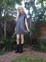 Laura King - Loving Youth Libby Dress,   Fishnet Tee, Buffalo Boots - Loving Youth