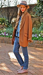 Nikki S -  - Brown Coat and Double Denim