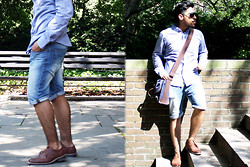 Pepe Vela - Marc Ecko Shirt, Bershka Shorts, Perry Ellis Shoes, Call It Spring Glasses, Cremieux Messenger Bag - Central Park