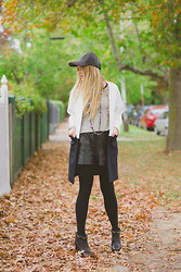 Jess Dempsey - Zara Jacket, Zara Top, White Suede Shorts, Ambra Stockings, Hugo Boss Shoes, Chanel Necklace - State of Fashion