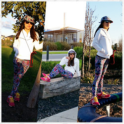 Yoj O - Cotton On Active Pants, Adidas Runners, Nike Jacket, Roxy Cap, Ray Ban Sunglasses, Indian Goodies Sling Purse - Active Look