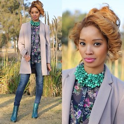LynnJazzy . - H&M Boots, Replay Jeans, Zara Floral Blouse, Truworths Coat - Winter florals