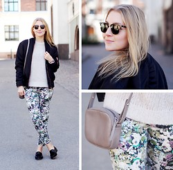 Jenni R. - Filippa K Bomber Jacket, Iro Woollen Sweater, Zara Floral Pants, & Other Stories Loafers, Longchamp Bag, Ray Ban Sunglasses - Bombing flowers