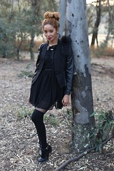 LynnJazzy . - Vintage Jacket, A List Lbd, Cotton On Thigh High Socks, Jet Shoes - LBD