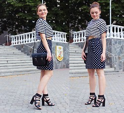 Jane Khodos - Forever 21 Crop Top, Cambridge Satchel Company, Michael Kors Sandals - Polka dots and Stripes