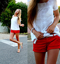 Masha Kiseleva - Bershka White Top, Abercrombie & Fitch Red Shorts, Pull & Bear Golden Sandals - ~ I Got You ~