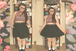 Katie - Forever 21 Floral Faux Turtle Neck Crop Top, Skater Skirt, Ankle Boots - We'll Rattle This Ghost Town